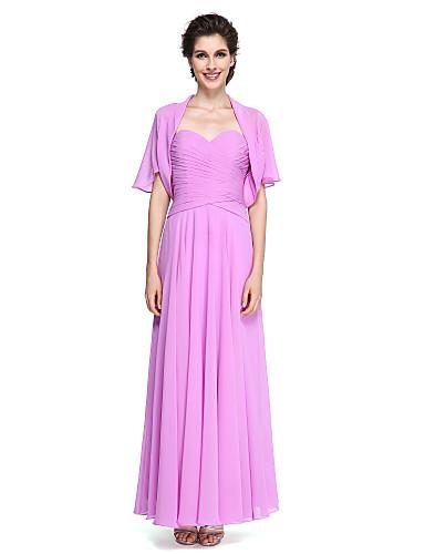 Γραμμή Α Καρδιά Μέχρι τον αστράγαλο Σιφόν Φόρεμα Μητέρας της Νύφης - Χιαστί με LAN TING BRIDE®