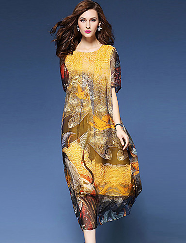 Women's Going out Street chic Loose Dress,Print Round Neck Midi Short Sleeve Polyester Yellow Spring Summer Mid Rise Micro-elastic