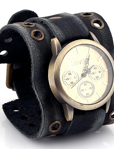 Homens Relógio de Pulso Quartzo Relógio Casual / Couro Banda Analógico Casual Fashion Preta - Dourado Preto