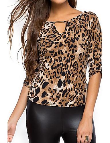 Mulheres Camiseta - Feriado / Para Noite Moda de Rua Leopardo / Verão / Outono / Com Corte
