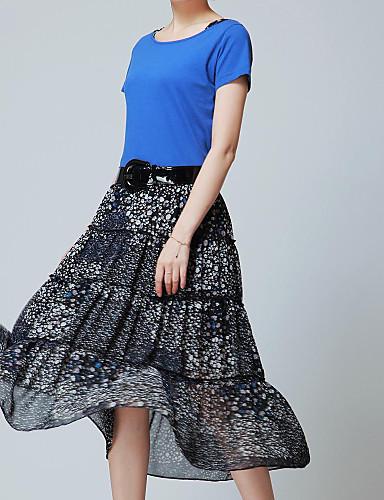 여성용 플러스 사이즈 빈티지 드레스 프린트 미디