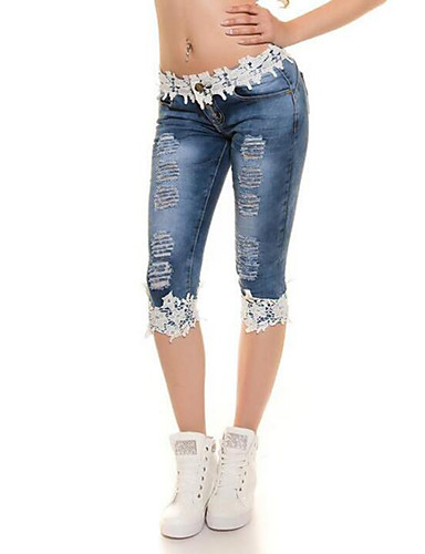 Mid Rise Stretchy Skinny Jeans Pants, Casual Sexy Street chic Solid Polyester Summer