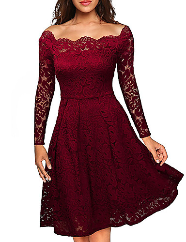 Women's Plus Size Street chic A Line Lace Dress - Solid Colored Off Shoulder