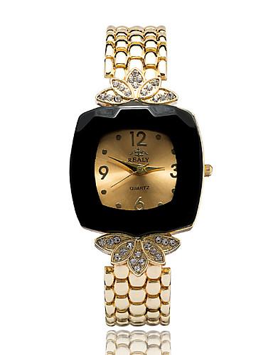 Mujer Reloj de Moda / Reloj de Vestir / Reloj Pulsera Japonés La imitación de diamante Aleación Banda Encanto / Flor / Casual Dorado / Un año