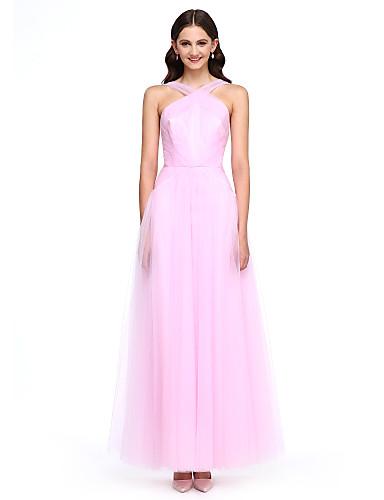 A-Şekilli Bilek Boyu Tül Nedime Elbisesi ile Yan Drape Haç tarafından LAN TING BRIDE®