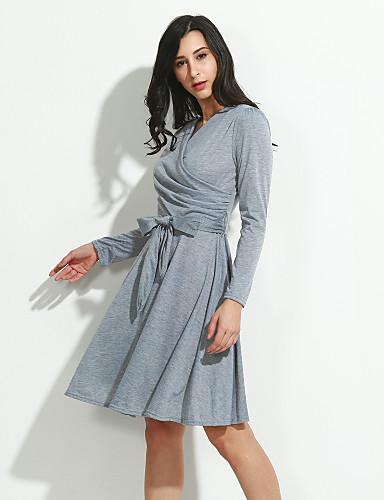 Damskie Linia A Sukienka - Jendolity kolor, Plisy