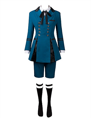 cheap Anime Costumes-Inspired by Black Butler Ciel Phantomhive Anime Cosplay Costumes Cosplay Suits Solid Colored Long Sleeve Cravat / Shirt / Top For Men's