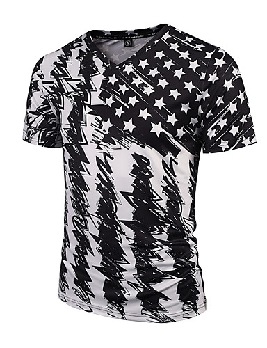 cheap Men's Tees & Tank Tops-Men's Daily Sports Holiday Boho / Street chic / Punk & Gothic T-shirt - Striped Print V Neck Black XL / Short Sleeve / Spring / Summer