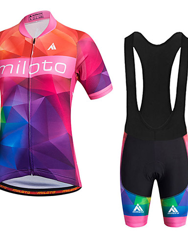 cheap Cycling Clothing-Miloto Women's Short Sleeve Cycling Jersey with Bib Shorts - Red Argyle Plus Size Bike Shorts Bib Shorts Jersey Breathable Quick Dry Reflective Strips Sweat-wicking Sports Polyester Silicon Argyle