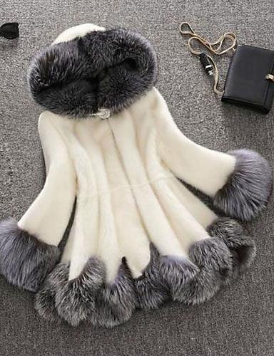Women's Plus Size Faux Fur Fur Coat-Solid Colored Simple