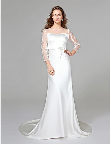 Sereia Decorado com Bijuteria Cauda Corte Cetim Vestido de casamento com Apliques Faixa / Fita Laço de LAN TING BRIDE®