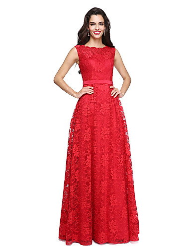cheap Prom Dresses-A-Line Boat Neck / Bateau Neck Floor Length Satin / All Over Lace Lace Up Prom / Formal Evening Dress with Lace / Sash / Ribbon by TS Couture®