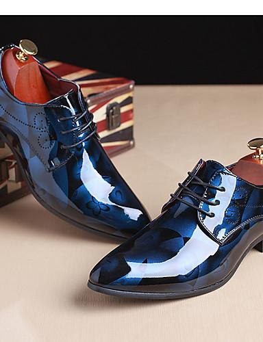 billige Oxford-sko til herrer-Herre Skrive ut Oxfords Lakklær Vår / Høst Oxfords Lysebrun / Rød / Blå / Fest / aften / Fest / aften / utendørs / Komfort Sko / EU40