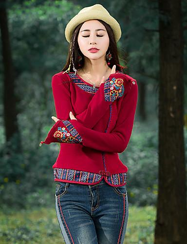 Mulheres Camiseta - Para Noite Feriado Temática Asiática Boho Flor, Sólido Floral Retalhos Algodão