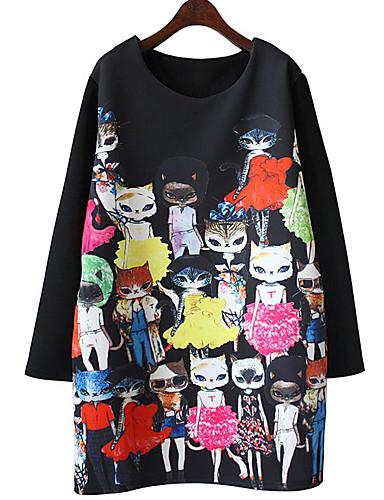 Femme Grandes Tailles Au dessus du genou énorme Tunique Robe - Imprimé, Bande dessinée Chat Printemps Noir XL XXL XXXL Manches Longues