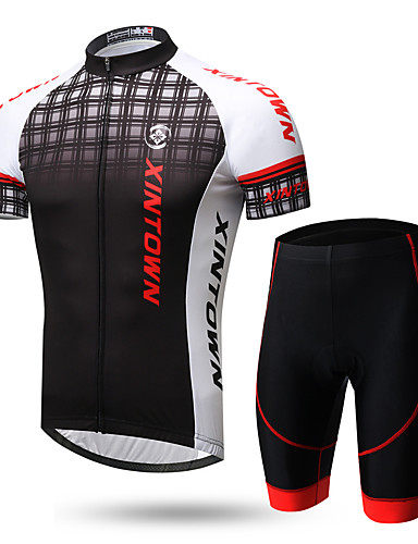cheap Cycling Clothing-XINTOWN Men's Short Sleeve Cycling Jersey with Shorts - Black / Red 1# White+Gray Gradient Bike Clothing Suit Breathable Quick Dry Ultraviolet Resistant Back Pocket Sweat-wicking Sports Lycra Gradient