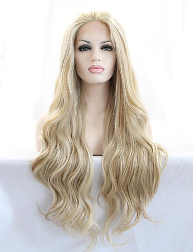 billige Nyheter-Syntetisk blonder foran parykker Dame Naturlige bølger Blond Beyonce Style 180% Menneskehår Parykk Tetthet Syntetisk hår 18-26 tommers Varme resistent / Naturlig hårlinje Blond Parykk Lang Blonde