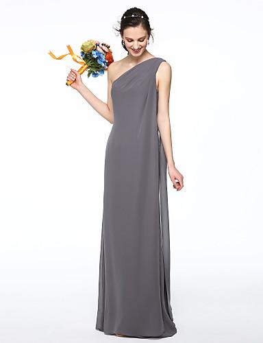 عامودي كتف واحد طول الأرض شيفون فستان الاشبينة مع طيات بواسطة LAN TING BRIDE®