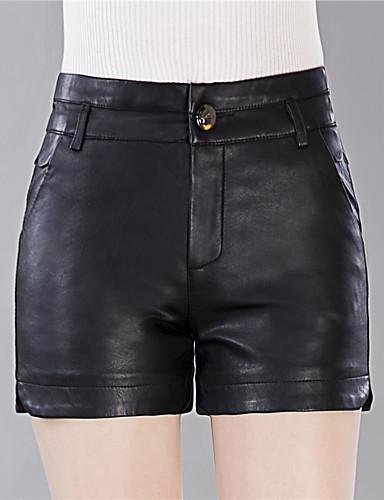 Tamanhos Grandes Cintura Alta Delgado Shorts Calças - Sólido, Fenda