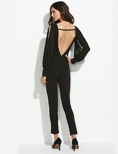 Dames Jumpsuit - Effen, Blote rug