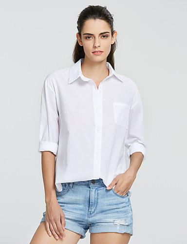 Mulheres Camisa Social Franzido, Sólido Algodão Colarinho de Camisa