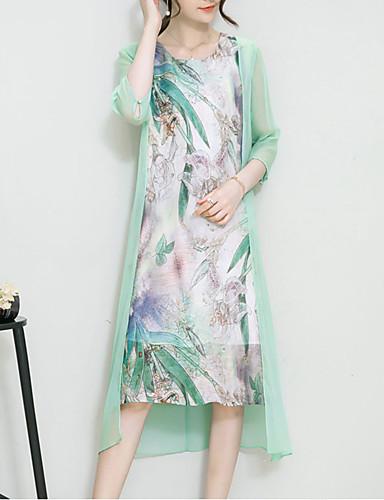 Mujer Noche Sofisticado Seda Corte Ancho Vestido Estampado Asimétrico