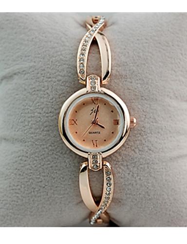 Mulheres Quartzo Simulado Diamante Relógio Bracele Relógio / Relógio Casual Rosa Folheado a Ouro Aço Inoxidável Banda Vintage Branco