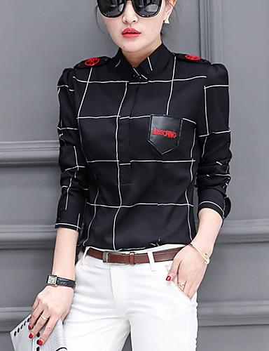 abordables Camisas y Camisetas para Mujer-Mujer Camisa, Cuello Camisero Geométrico Blanco L / Primavera / Verano