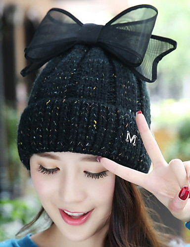 Women  s Wool Solid Colored M Letter Bowknot Cashmere Knitted Warm  Protection Ear Cap 2ecbcba60aaf