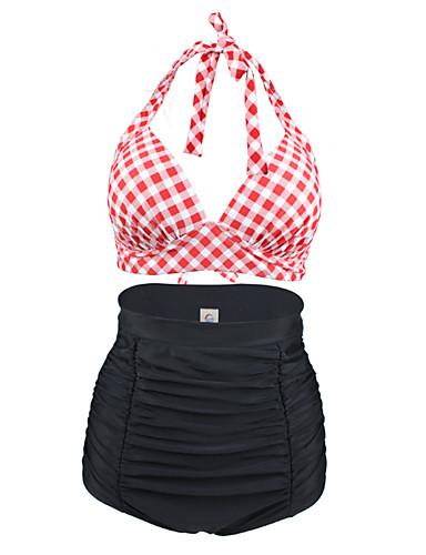 abordables Hauts pour Femmes-Femme Taille haute Fleur Géométrique Rétro Licou Noir Rouge Bikinis Maillots de Bain - Tartan XL XXL XXXL Noir / Bohème