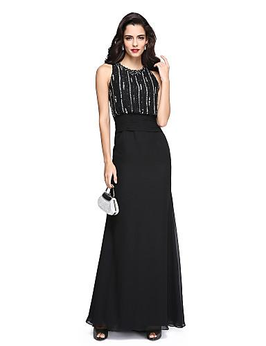 Funda / Columna Joya Hasta el Suelo Raso Brillos Y Estrellas Evento Formal Vestido con Cuentas / Fruncido por TS Couture®