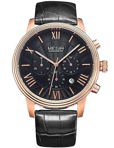 MEGIR Homens Quartzo Relógio de Pulso Relógio Esqueleto Relógio Elegante Relógio Esportivo Calendário Couro Legitimo Banda Amuleto Casual