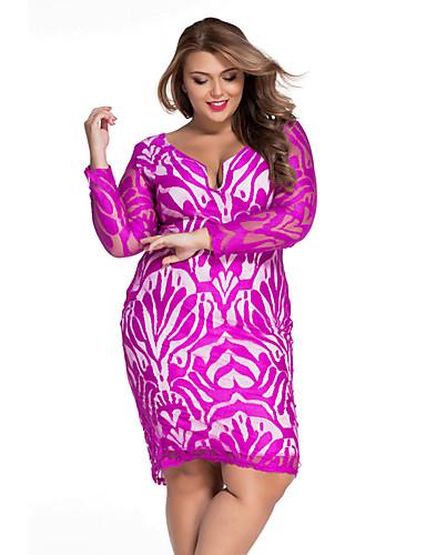 여성용 칼집 드레스 - 솔리드, 레이스 딥 V