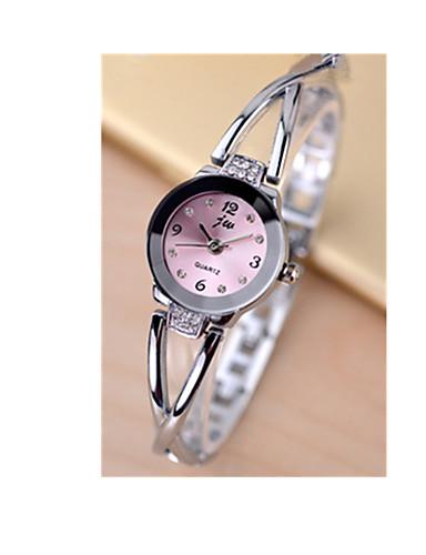 Mulheres Quartzo Simulado Diamante Relógio Bracele Relógio / Relógio Casual Rosa Folheado a Ouro Aço Inoxidável Banda Amuleto Prata