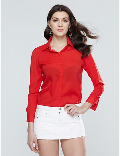 billige Dametopper-V-hals Skjorte Dame - Ensfarget Gul / Sommer