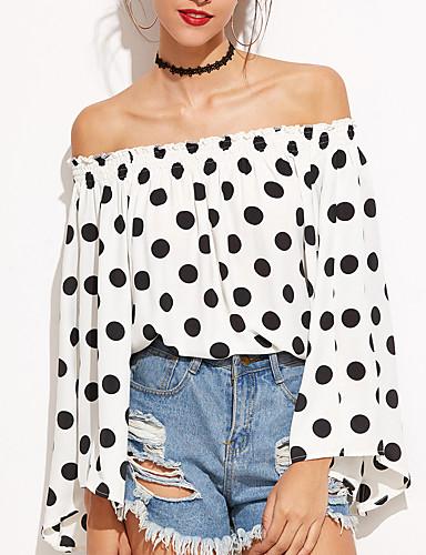 f181fe00b066 Γυναικεία T-shirt Εξόδου Κομψό στυλ street Πουά Χαμόγελο Εξώπλατο Λευκό M    Άνοιξη