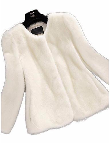 Mulheres Casaco de Pêlo Para Noite Simples / Casual / Sofisticado - Sólido
