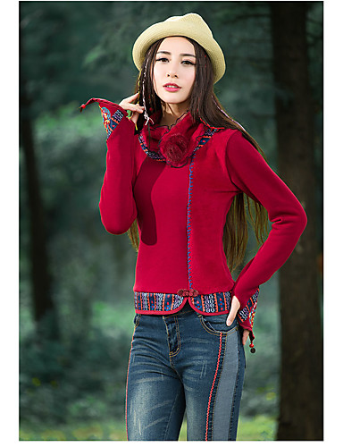 Mulheres Camiseta Temática Asiática Estilo Artístico, Art Deco Colarinho Chinês / Primavera / Outono