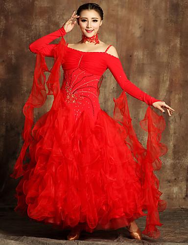 رخيصةأون ملابس الحفلات الراقصة-Ballroom Dance الفساتين نسائي أداء تول / ليكرا زينة / كشاكش / كريستال / أحجار الراين كم طويل ارتفاع متوسط فستان / Neckwear