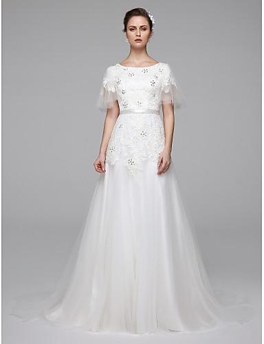 Corte en A Joya Larga Encaje perlado Vestidos de novia hechos a medida con Cuentas / Cinta / Lazo por LAN TING BRIDE®