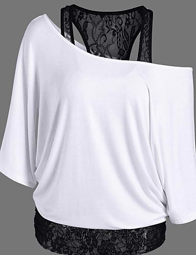 billige Topper til damer-Løstsittende Løse skuldre T-skjorte Dame - Ensfarget / Lapper Sofistikert Ut på byen Svart / Blonder