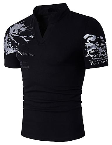 abordables Camisetas y Tops de Hombre-Hombre Activo / Boho Deportes Estampado - Algodón Camiseta, Escote Chino Bloques / Letra Negro L / Manga Corta / Verano