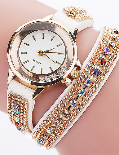 Xu™ Women's Simulated Diamond Watch Unique Creative Watch Bracelet Watch Casual Watch Chinese Quartz PU Band Charm Casual Elegant Black