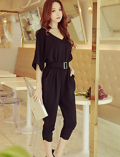 c545a4c22c0 Women s Party   Going out   Work Street chic   Punk   Gothic V Neck Black  Red Harem Jumpsuit
