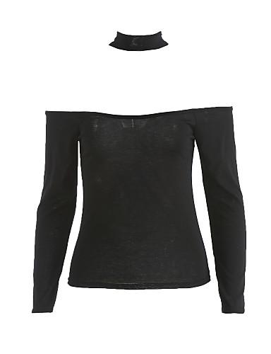billige Topper til damer-Bomull Båthals T-skjorte Dame - Ensfarget Svart / Høst / choker