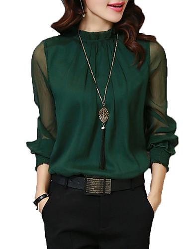 baratos Blusas Femininas-Mulheres Camisa Social - Trabalho Básico Luva Lantern Sólido Colarinho Chinês Branco