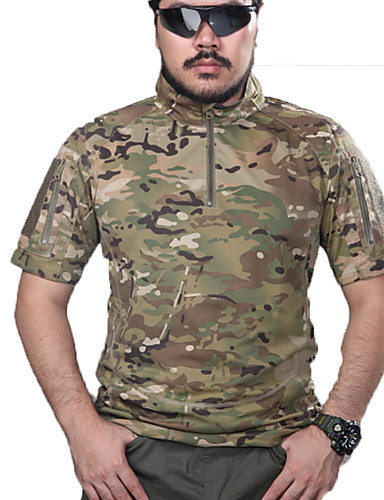 cheap Hunting Clothing-Men's Camouflage Hunting T-shirt Outdoor Tactical Top Spring Summer Fall Short Sleeve Hunting, Leisure Sports
