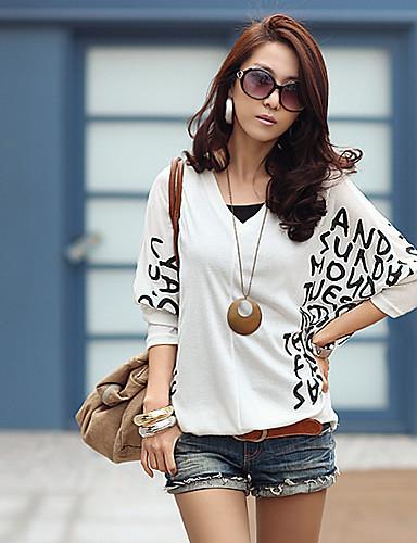 billige Dametopper-T-skjorte Dame - Art Deco, Kunstnerisk Stil Hvit / Vår / fin Stripe