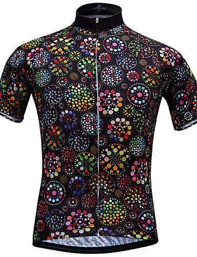 cheap Cycling Clothing-JESOCYCLING Women's Short Sleeve Cycling Jersey - Black Floral / Botanical Bike Jersey Top Breathable Quick Dry Ultraviolet Resistant Sports 100% Polyester Mountain Bike MTB Road Bike Cycling