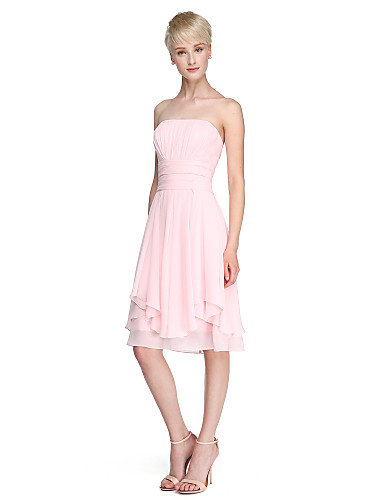 A-Line Princess Strapless Knee Length Chiffon Bridesmaid Dress with Draping Ruched by LAN TING BRIDE®